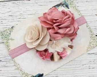 Ivory pink mauve baby girl headband toddler headband flower headband matilda jane m2m flower infant newborn headband