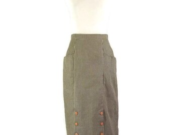 Brown and White Check  and Button Bottom BombShell Pinup Pencil Skirt Pin Up Pinup Vixen Bombshell