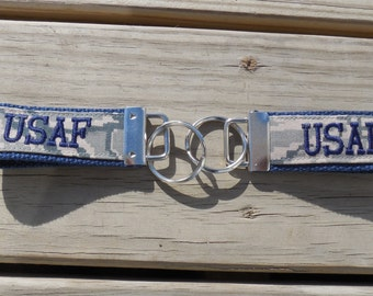 Embroidered Mini US Air Force Key Fob, ABU Digital Camo Print, Made to Order, Navy Blue embroidery