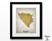 Bosnia Map Art Print - Home Is Where The Heart Is Love Map - Original Custom Map Art Print Available in Multiple Size and Color Options