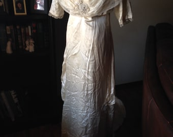 Spectacular Edwardian Silk Wedding Gown