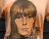 Vintage 70s Joni Mitchell Tshirt . Rare folk rock T tie dye