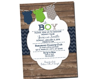 RUSTIC BABY BOY Shower Invitation- Digital File- Customizable- Burlap & Wood