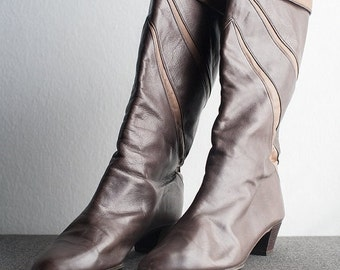 ON SALE Vintage Two Tone Leather Boots