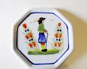 Quimper Tile Trivet, French Pottery, French Country, Cottage Chic Wall Tile