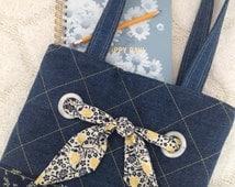 Handmade Denim Bag, Quilted Denim Book Bag, Quilted Tote Bag, Tote Bag with Pockets, Lined Denim Book Bag, Floral Lined Denim Book Bag