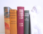 VINTAGE 1950s Wild West book stack - set of 4, instant collection, western tales stories