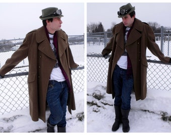 Vintage RCASC Great Coat - Vintage Canadian Military Overcoat - Steampunk Army Coat - Army Uniform Wool Coat - WWII Re-Enacting Uniform Coat