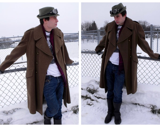 Vintage RCASC Great Coat - Vintage Canadian Military Overcoat - Steampunk Army Coat - Army Uniform Wool Coat - WWII Re-Enacting Uniform Coat