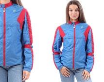 BLUE RED BOMBER Jacket 80s Workout Colour Block Zip Up Old School Hip Hop Men Women Unisex Padded Elbow Tracksuit Athletic Sports  Medium