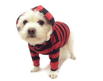 Red and Black Striped Dog Hoodie-Red Striped Dog Hoodie-Dog Hoodie-Dog Sweater-Dog Clothing-Dog Shirt-Dog Shirts-Dog Apparel-Shirts for Dogs