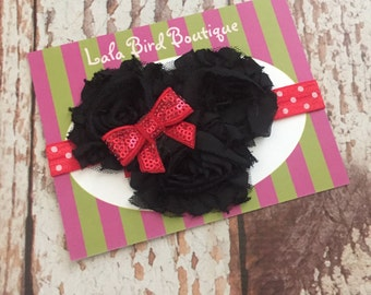 Minnie Mouse Inpired Headband - Elastic Headband - Girl, Toddler Girl, Baby Girl - READY TO SHIP
