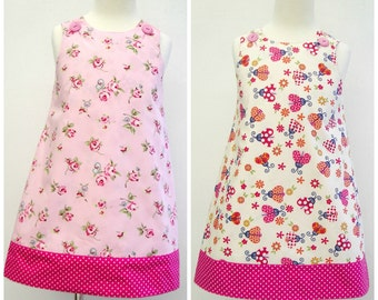 Girls Summer Dress, Girls Reversible Dress, Girls A line Pinafore, Summer Dress, Girls Sleeveless Dress, Girls Sun Dress, Ladybirds, Floral
