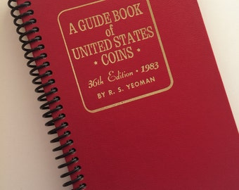 VINTAGE Coin Collector Book Re-purposed Book Spiral Bound Journal 1983