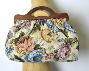 Vintage Floral Tapestry Wood Handle Clutch Bag - 1980s