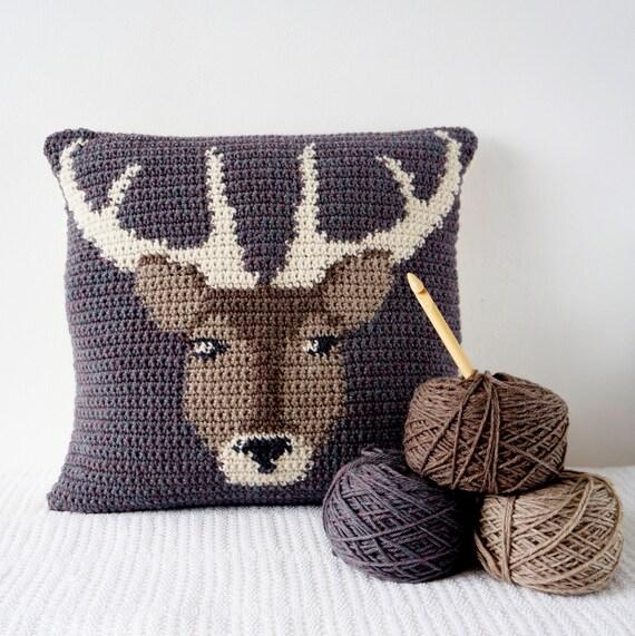 Stag Cushion, Cascade 220, Adventure Pillow, Double Crochet, Pattern Deer, Single Crochet ...
