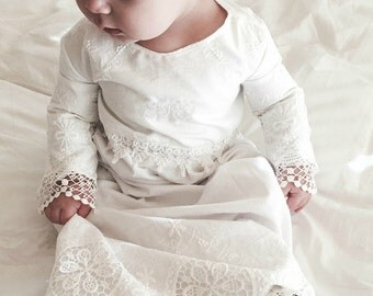 Christening gown -  baby girl christening dress - milk white - Heirloom lace style--handmade in the usa