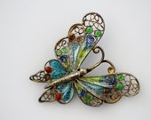 Vintage Colorful Filigree Enamel Butterfly Pin - Jewelry Findings Repair Repurpose