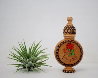 Vintage Wooden Folk Art Container - Small Perfume Bottle Holder - Bulgaria Folk Art Woodcraft Hand Painted Wooden Rose Oil Container