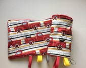Red Trucks Suck/Drool Pad Strap Cover Reversible with Minky // In Stock READY TO SHIP