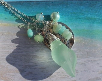 The Sand Between your toes Necklace, beach lover, in shades of Pastel Green, sea glass shell, amazonite, pearl, charm jewelry, Inarajewels