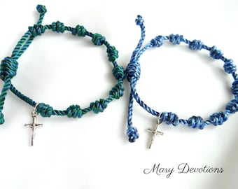 Knotted Rosary Bracelet with Silver Crucifix
