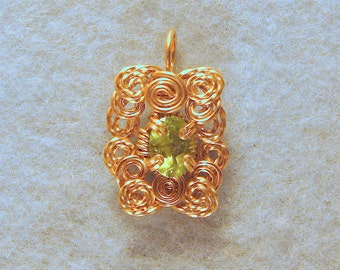 Peridot in 14/20 Gold Filled Wire Wrapped Pendant Number 4 of 500