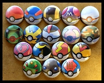Choose 1 Pin - Pokemon Pokeballs Button Pinback Pins