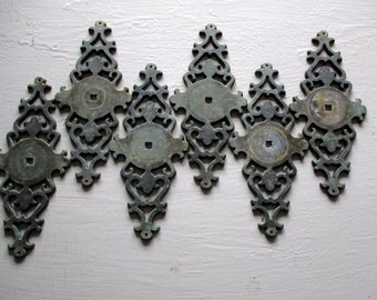 metal drawer pull back plate ornate hardware from the 1960s set of 6