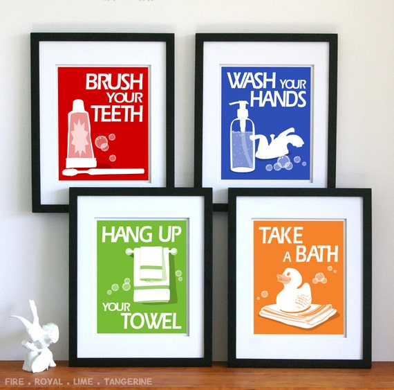 Bathroom Art Prints  - pick any 4 prints and choose your colors - children's bathroom rules- kids bathroom decor