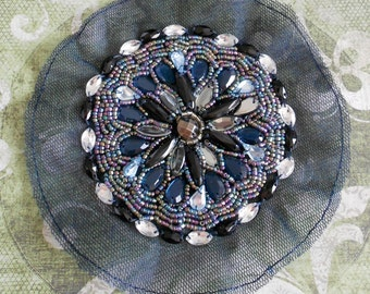 Blue and Clear Stone Beaded Appliques