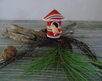 Bird House Vintage Christmas Ornament Japan