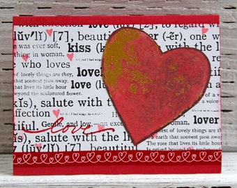 Red and Gold Heart Greeting Card, Love Note, Handmade Notecard for Wedding Anniversary, Romantic Card, Valentine's Card