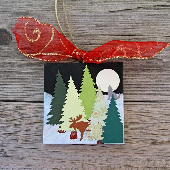 Mixed Media Christmas Ornament, Winter Landscape with Trees, Moose and Wolf, Full Moon Scene, Holiday Decoration, Original Canvas Artwork