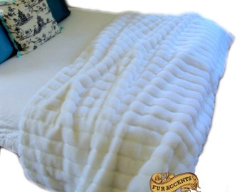 Plush Faux Fur Bed Spread / Comforter / Channel Mink / White or Off White / Throw Blanket / Pillow Shams Sold Separately / All New Sizes
