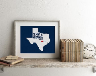 Texas Personalized Wedding Art, State Map Print, Bride & Groom Names and Date, Any State Available, Choice of Colors