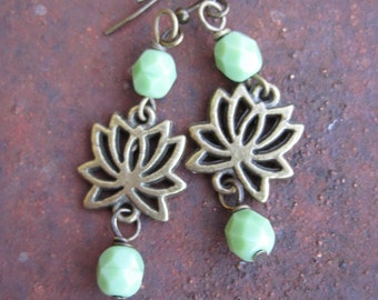 Brass Lotus Flower Earrings - Green Beaded Lotus Charm Earrings
