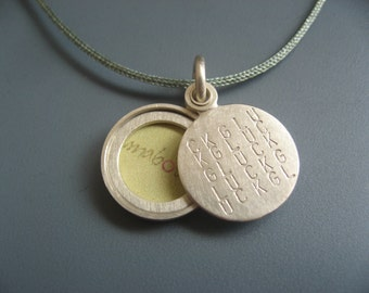 Picture-locket sterling silver, silver locket, personalized locket, handmade locket, Typographic pendant