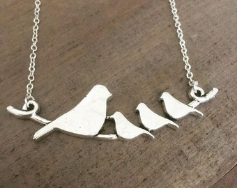 Birds On A Branch Silver Necklace, Mom Of Three,  Gift For Mother, Bird pendant
