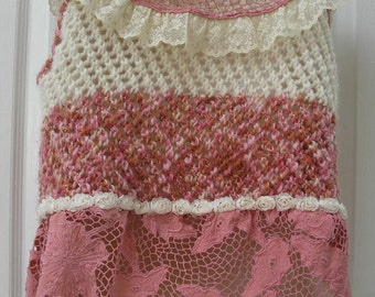 Pink and Cream Knitted Sweater, Boho Style, with Lace Collar