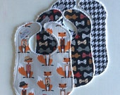 Baby Bibs, set of 3, Fox and Houndstooth backed with white chenille