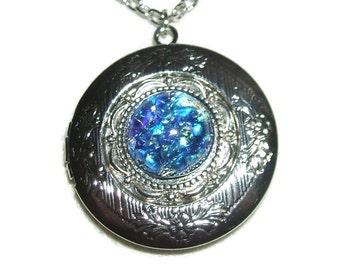 BLUE OPAL Necklace Locket Czech Glass Fire Opalized Stone Silver Pltd Pendant