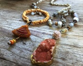 Bohemian lariat, Druzy necklace, Tribal lariat, Rustic assemblage, Long boho necklace, Eco jewelry, Boho assemblage, Ethnic necklace