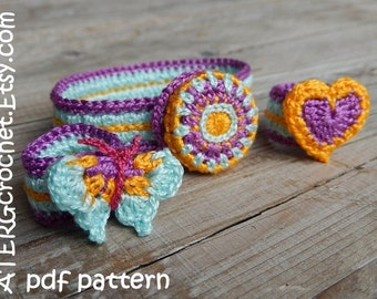 Crochet pattern HEART-/BUTTERLY ring + BRACELET by ATERGcrochet