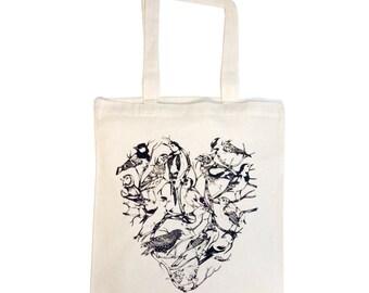 Bird Heart Cotton Tote Bag