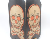 Vintage 1940's Halloween Lantern, Diecut Cardboard Skull and Crossbones, Antique Skeleton