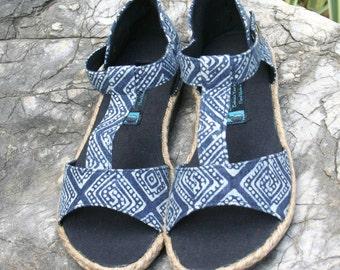 T Strap Vegan Womens Sandals In Ethnic Hmong Indigo Batik Summer Shoes - Lindsay