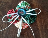 Red and Green Multi Fabric Christmas Angel Broach Pin