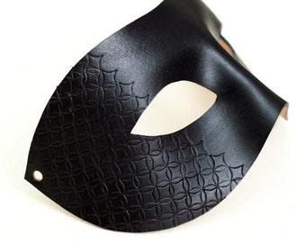 Unique Designer Italian Black Leather Half Patterned Men's Mask