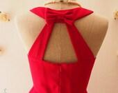 Red  Dress, Scarlet Red Party Dress, Backless Dress, Cheap Bridesmaid Dress, Wedding Summer Dress, Cut Off Back Dress, Love Potion